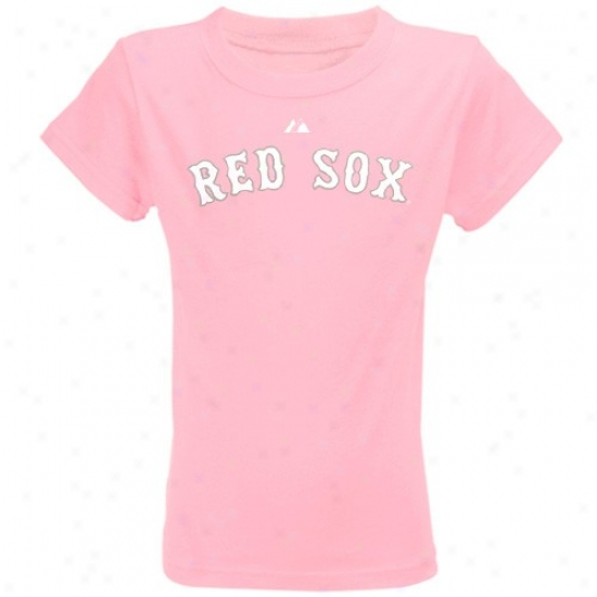 Boston Red Sox Shirt : Majestic Boston Red Sox Youth Pink Wordmark Shirt
