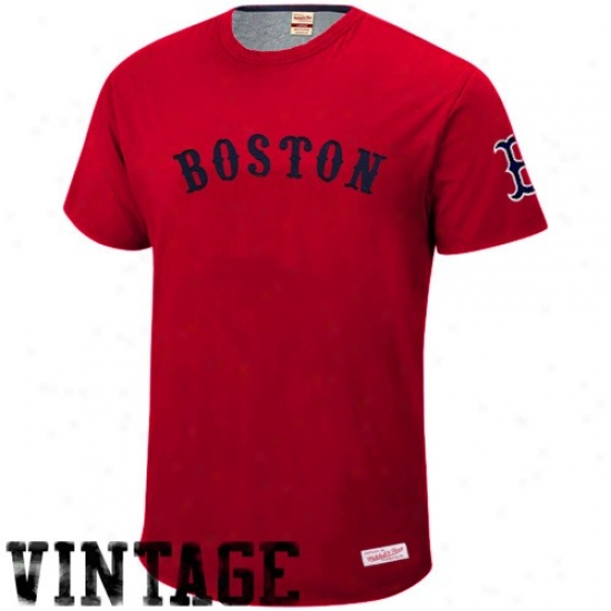 Boston Red Sox Shirt : Mitchell & Ness Boston Red Sox Red 1940 Throwback Vintage Shirt