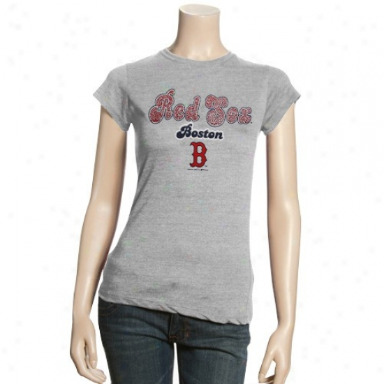 Boston Red Sox Shirts : Boston Red Sox Ladies Ash Jeweled Shirts
