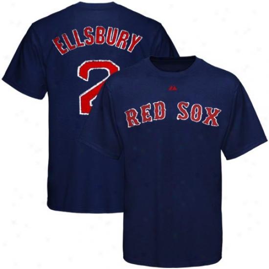 Bosston Red Sox Shirts : Majestic Bostonn Red Sox #2 Jacoby Ellsbury Ships Blue Applique Premium Shirts