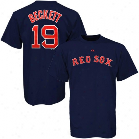 Boston Red Sox Shirts : Majestic Boston Red Sox #19 Josh Beckett Navy Blue Players Shiirts