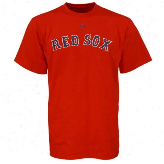 Boston Red Sox Shirts : Majestic Boston Red Sox Red Wordmark Shirts