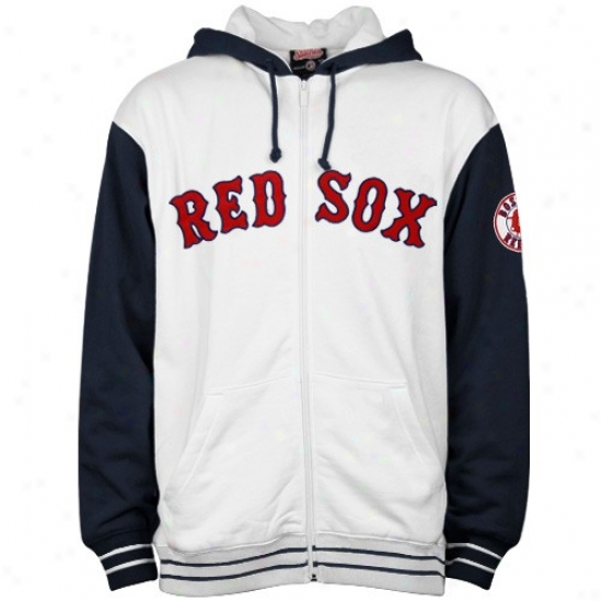 Boston Red Sox Sweat Shirt : BostonR ed Sox White Heavyweight Full Zip Sweat Shirt