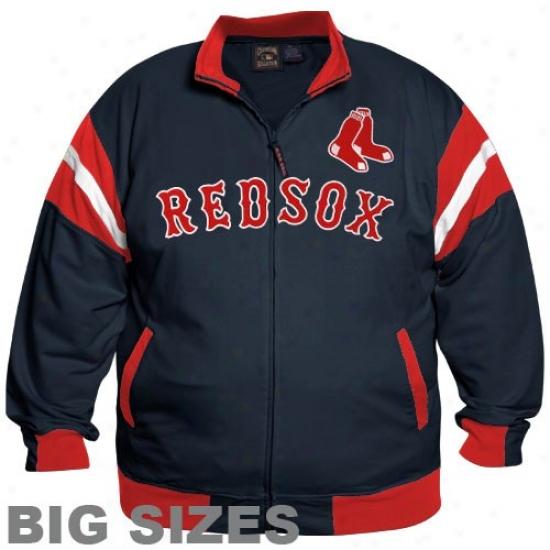 Boston Red Sox Sweat Shirts : Majestic Boston Red Sox Navy Blue Curveball Full Zip Big Sizes Jacket