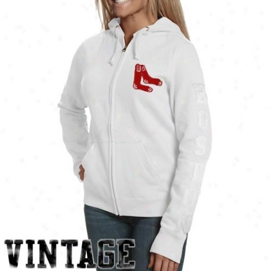 Boston Red Sox Sweatshirt : Bosfon Red Sox Ladies White Charmed Full Zip Sweatshirt