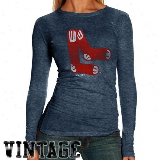 Boston Red Sox T Shirt : Boston Red Sox Ladies Navy Blue Distressed Logo Triblend Long Sleeve T Shirt