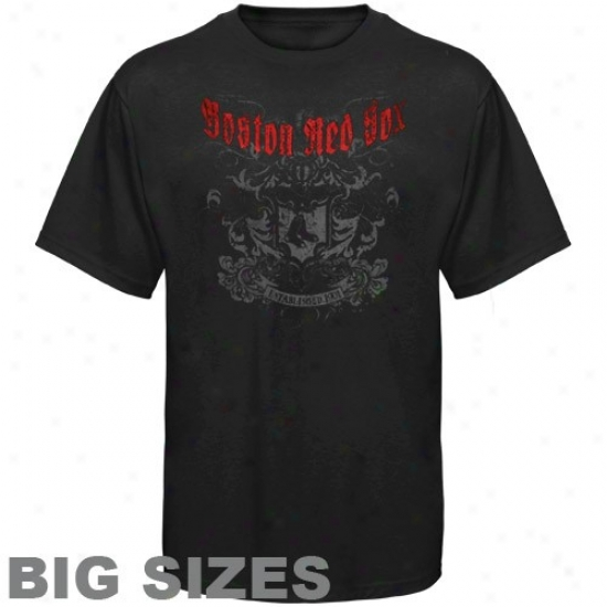 Boston Red Sox T-shirt : Majestic Boston Red Sox Black Tattoo Big Sizes T-shirt