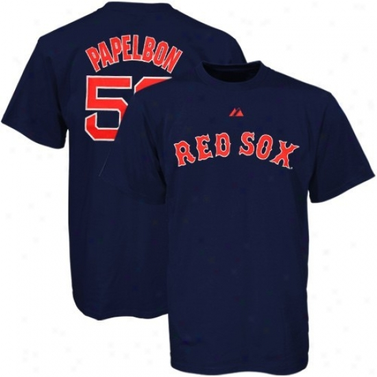Boston Re dSox T-shirt : August Boston Red Sox #58 Jonathan Papelbon Navy Blue Players T-shirt