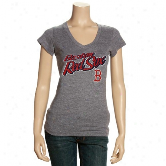 Boston Red Sox Tee : Boston Rrd Sox Ladies Dark Ash Name V-neck Tee
