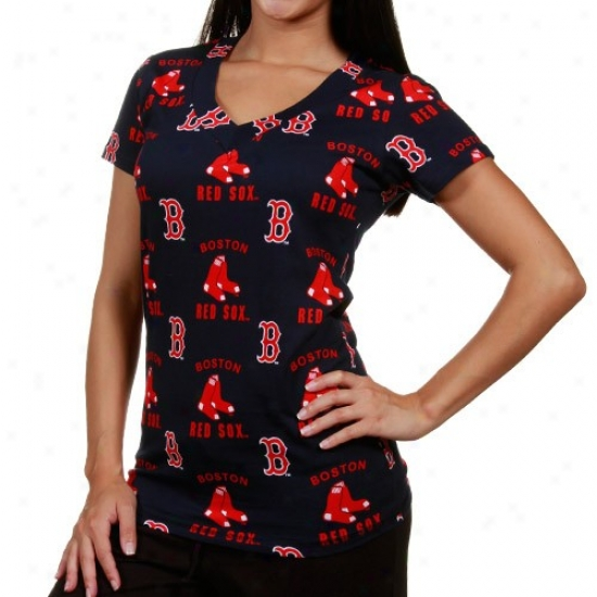 Boston Red Sox Tee : Boston Red Sox Ladies Navy Dismal Maverick Lounge V-neck Tee