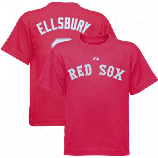 Boston Red Sox Tee : Majestic Boston Red Sox #2 Jacoby Ellsbury Youth Hot Pink Player Tee