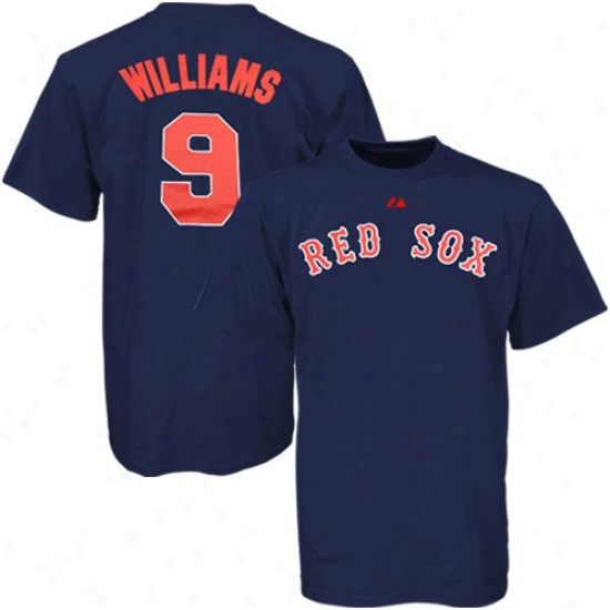 Boston Red Sox Tee : Majestic Boston Red Sox #9 Ted Williams Navy Blue Cooperstown Collection Jersey Tee