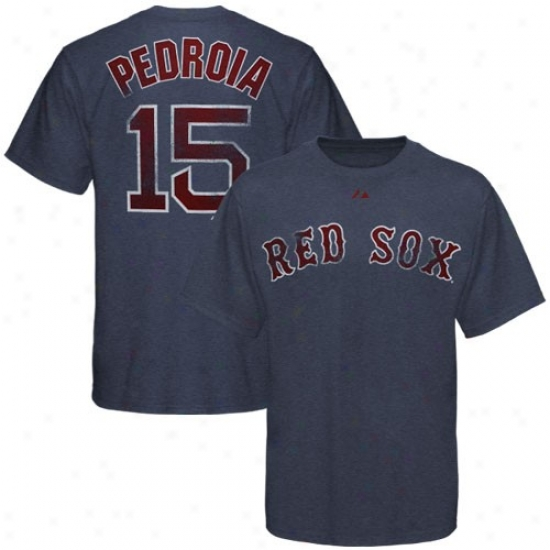 Boston Ref Sox Tees : Majestic Boston Red Sox #15 Dustin Pedroia Heather Navy Blue Pigment Dyed Player Tees
