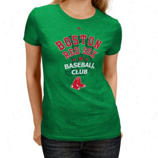 Boston Red Sox Tees : Majestic Boston Red Sox Ladies Green Ball Club Tees