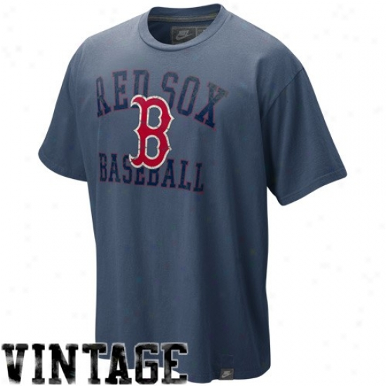 Boston Red Sox Tees : Nike Booston Red Sox Navy Bue Southpaw Organic Vintage Washed Tees