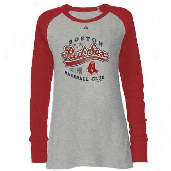 Boston Red Sox Tshirt : Majestic Boston Red Sox Ladies Ash-red Appeal Play Premium Long Sleeve Tshirt
