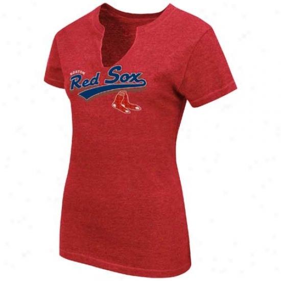 Boston Red Sox Tshirt : Splendid Boston Red Sox Ladies Red Charm Fashion Heathered V-neck Top