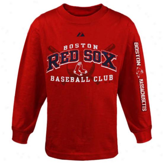 Boston Red Sox Tshirt : Majestic Boston Red Sox Youth Red Monster Play Long Sleeve Tshirt
