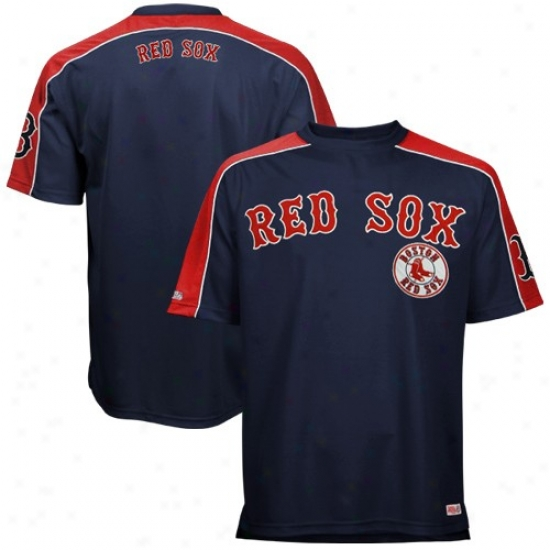 Boston Red Sox Tshirts : Boston Red Sox Navy Blue Tackle Twill Crew Annual rate  Tshirts