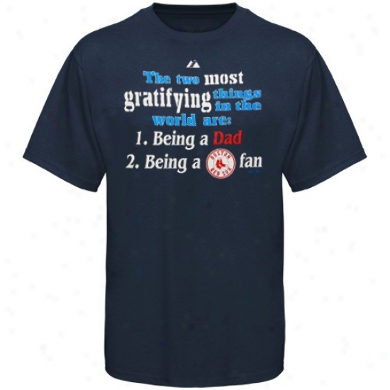 Boston Red Sox Tshirts : Majestic Boston Red Sox Navy Blue World's Greatest Dad Tshirts