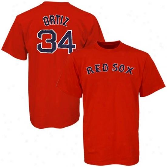 Boston Red Sox Tshirts : Majestic Boston Red Sox #34 David Ortiz Red Players Tshirts