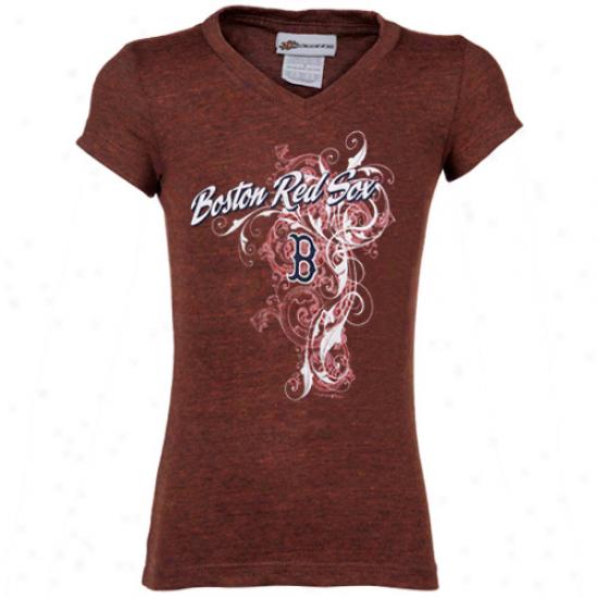 Boston Red Sox Youth Girls Rsd Tattoo Tri-blend V-neck T-shirt