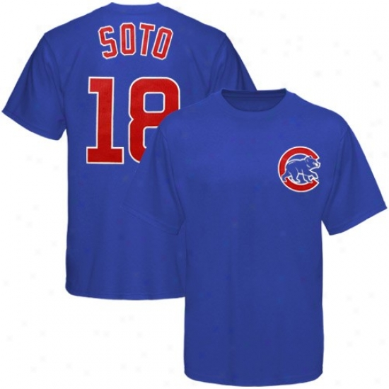 Chicago Cubs Apparel: Majestic Chicago Cubs #18 Geovany Soto Youth Royal Melancholy Plater T-shirt