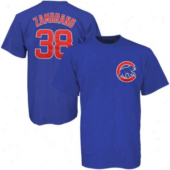 Chicago Cubs Attire: Mzjestic Chicago Cubs #38 Carlos Zambrano Royal Blue Players T-shirt