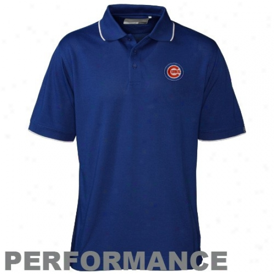 Chicago uCba Garments: Cutter & Buck Chicago Cubs Royal Blue Drytec Cutter Tipped Performance Polo