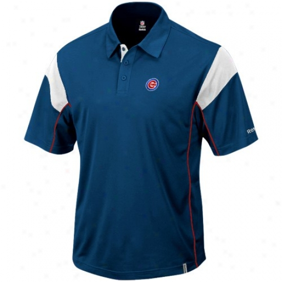 Chicago Cubs Cloghes: Reebok Chicago Cubs Roual Blue Victory Polo