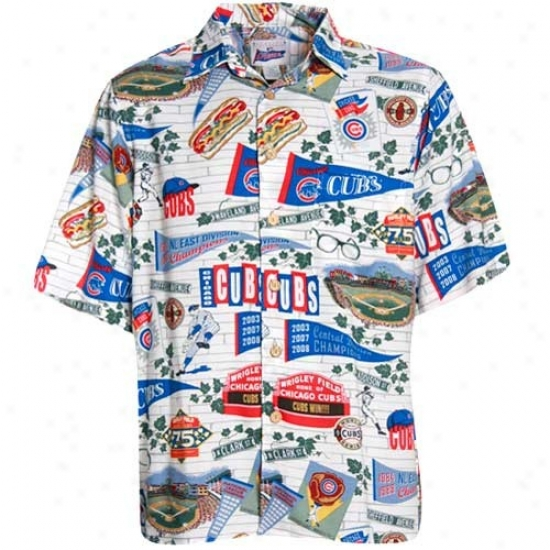 Chicago Cubs Clothes: Reyn Spooner Chicago Cubs Cream Hawaiian Shirt