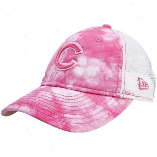 Chicago Cubs Gear: New Era Chicagl Cubs Youth Girls Pink Lovely Lucy Adjuxtable Hat