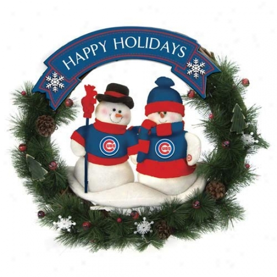Chicago Cubs Happy Holidays Wreath