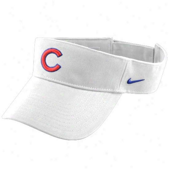 Chicago Cubs Hat : Nike Chicago Cubs White Mlb Adjustable Visor