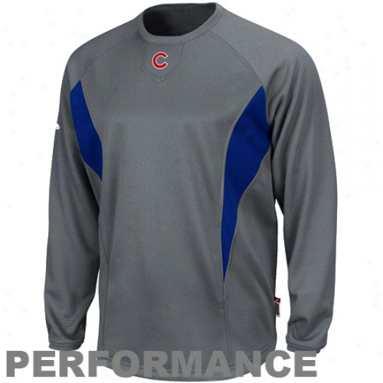 Chicago Cubs Hoodie : Majestic Chicago Cubs Charcoal Therma Base Tech Performance Hoodie