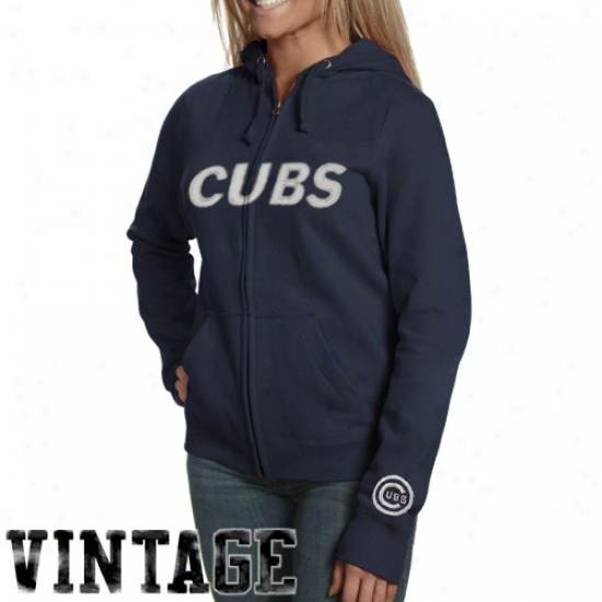 Chicago Cubs Hoodies : Chicago Cubs Ladies Navy Blue Distressed