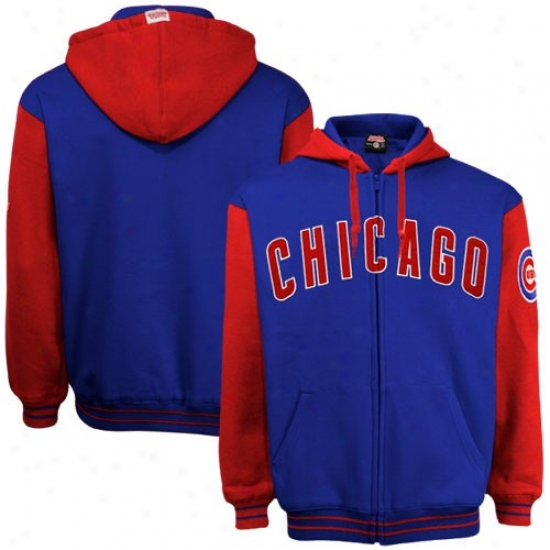 Chicago Cubs Hoodies : Chicago Cubs Royal Blue-red Full Zip Hoodies