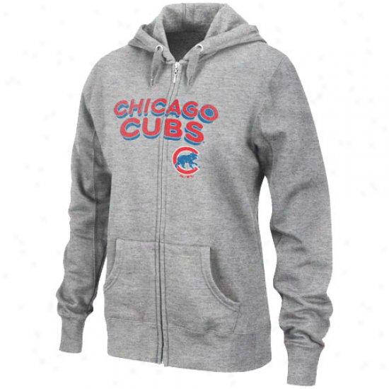 Chicago Cubs Hoodies : Majestiic Chicago Cubs Ladies Ash Instant Replay Full Zip Hoodies