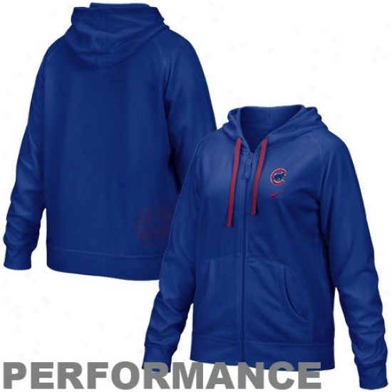 Chicago Cubs Hoodys : Nike Chicago Cubs Ladies Rotal Blue Threma-fit Performance Full Zip Hoodys