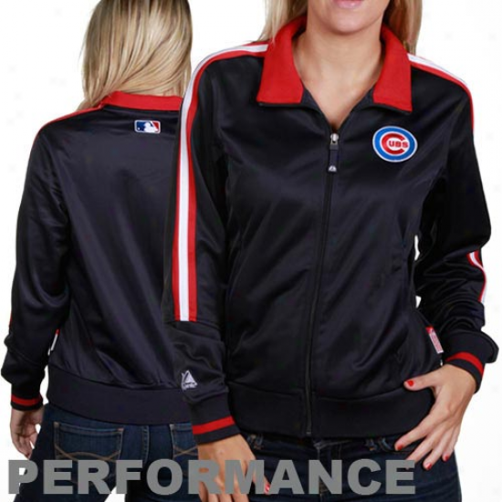 Chicago Cubs Jacket : Majestic Chcago Cubs Ladiea Navy Blue Therma Base Performance Track Jacket