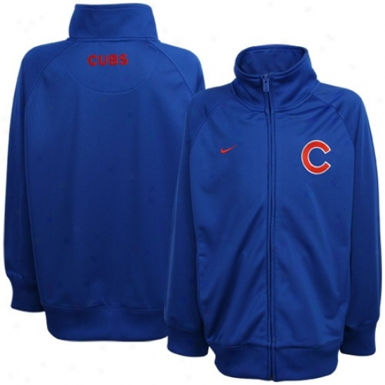 Chicago Cubs Jackets : Nike Chicago Cubs Youth Royal Blue Full Zip Tricot Jackets