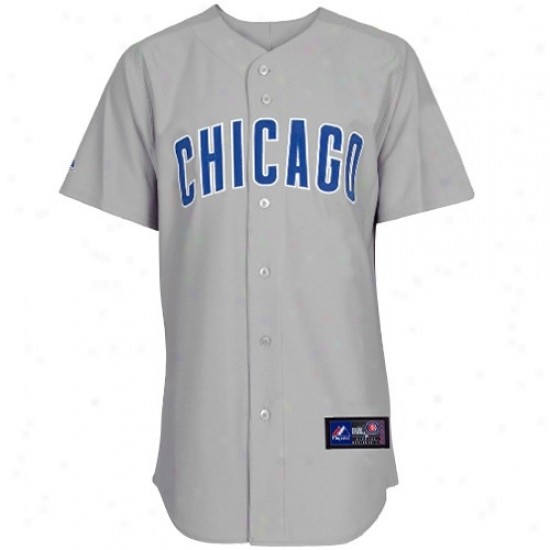 Cnicago Cubs Jersey : Majestic Chicago Cubs Gray Replics Baseball Jersey
