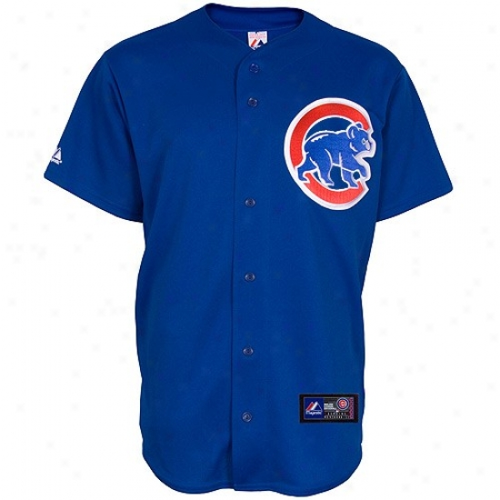 Chicago Cubs Jersey : Majestic Chicago Cuns Royal Blue Replica Baseball Jersey