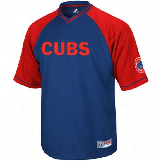 Chicago Cubs Jersey : Majestic Chicago Cubs Royal Blue-ref Full Violence V-neck Jersey