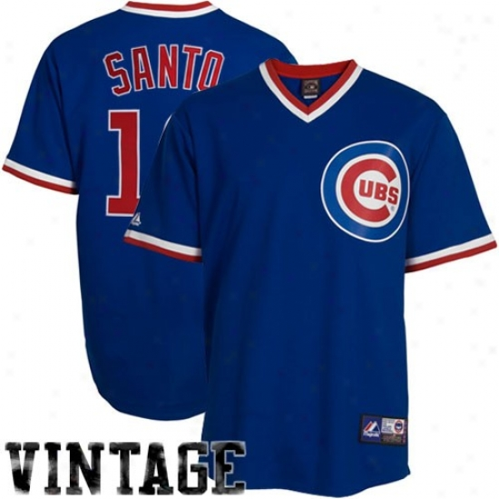 Chicago Cubs Jerseys : Majestic Chicago Cubs #10 Ron Santos Royal Pedantic  Cooperstown Replica Player Baseball Jerseys
