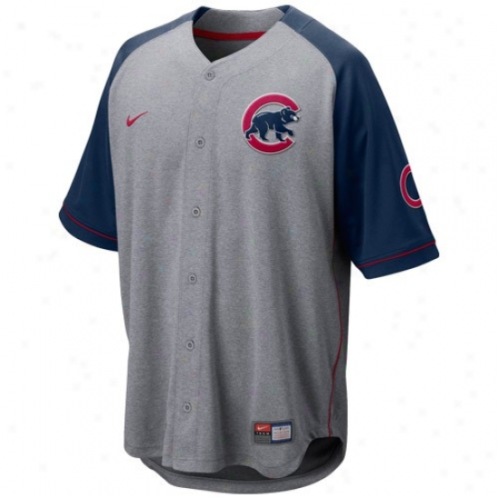 Chiacgo Cubs Jerseys : Nike Chicago Cubs Ash-navy Blue At 'em Full Button Baseball Jerseys