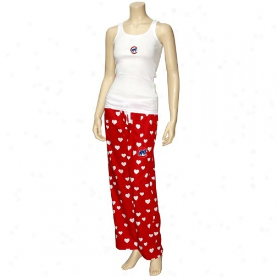 Chicago Cubs Ladies Red-white Amour Pajama Set