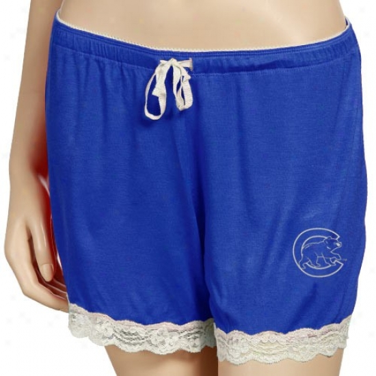 Chicago Cubs Ladies Royal Blue Super-soft Lace Trim Bedtime Shorts
