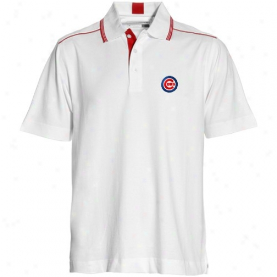 Chicago Cubs Polo : Cutter & Buc kChicago Cubs White Baseline Polo