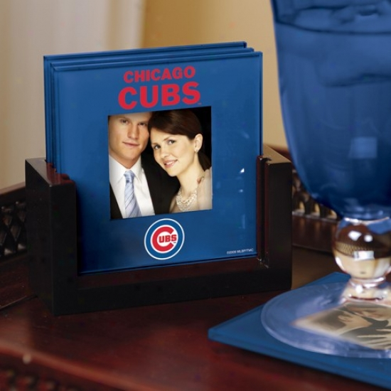 Chicago Cubs Royal Blue 4-pack Photo Coaster Set